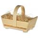 Drevený košík s rúčkou + drevená vlna