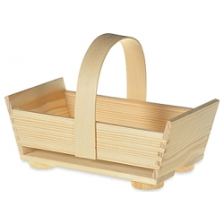Drevený košík s rúčkou