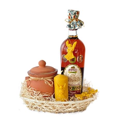 Darčekový košík s medom v keramike